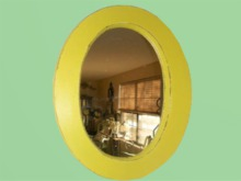 """HOME WALL DECOR Crafted Art """"Yellow Shabby Chic Oval Mirror"""" Hanging Design House Furniture copy/mod 1 Prim PROMO SALE"""