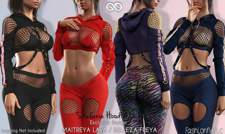 STEFANIE HOODIE WITH FISHNET TOP AND BRA FATPACK MESH - Maitreya Lara, Belleza Freya - FashionNatic