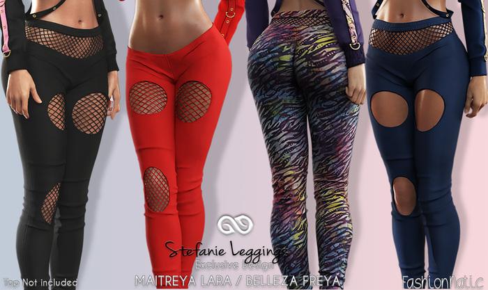 STEFANIE FEMALE LEGGINGS WITH FISHNET FATPACK - MESH - Maitreya Lara, Belleza Freya - FashionNatic