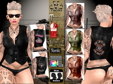 V-Twins Biker Clothes - Individual Items Mesh Vest - My Old Lady Leather Collection (Slink Belleza & Maitreya)