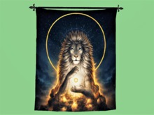 "TAPESTRY Wall Hanging Art ""Lion Soul Keeper Cloth Print"" Hanging Interior Design House Furnishings copy/mod 1 Prim PROMO"