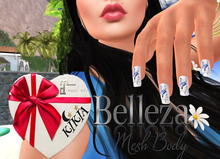 Nails Butterfly White and Blue T1MBF