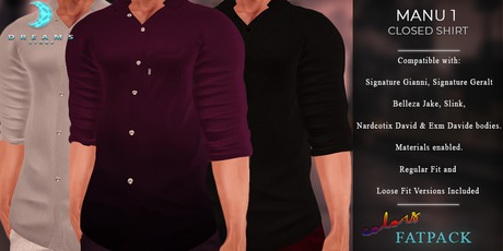 Marketplace SALE!  :::DREAMS::: Manu Shirt 1 -Solid Colors- FATPACK [ADD]