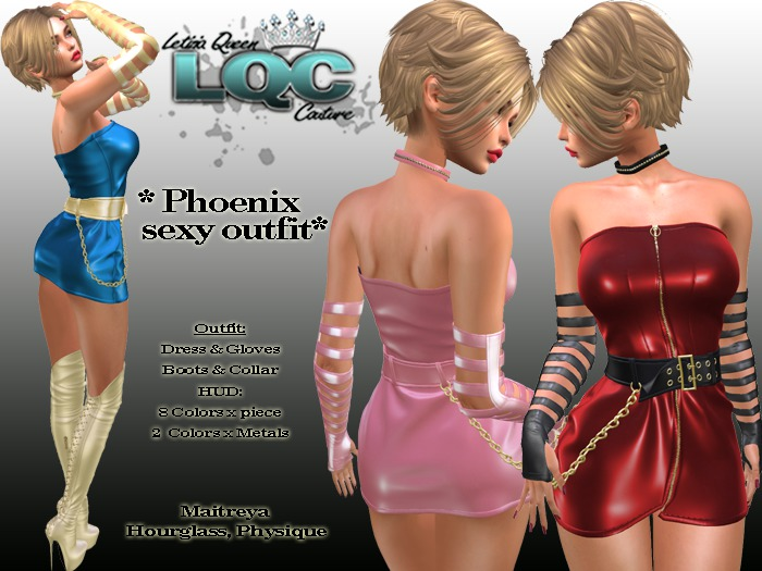 *LQC* ♕Phoenix sexy outfit (Dress,Gloves,Boots,Collar) ♕