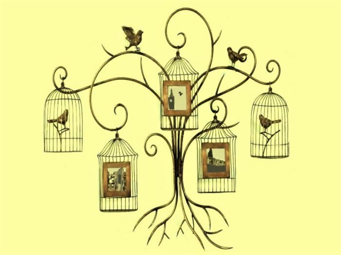 """HOME HANGING WALL ART """"Metal Craft Bird Cages Pictures"""" Alpha Alpha Wood Craft Plaque House Decor copy/mod 1 prim Promo"""