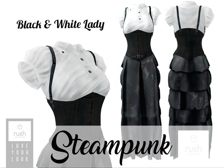 RUSH Steampunk Lady B&W Pack