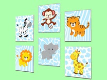"CHILD HOME DECOR WALL HANGING ART ""Nursery Animals Craft Group"" crafted House Plaque Copy/Mod 1 Prim PROMO SALE"