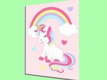 "CHILD HOME DECOR WALL HANGING ART ""Unicorn Set #2 Rainbow Picture"" crafted House Plaque Copy/Mod 1 Prim PROMO SALE"