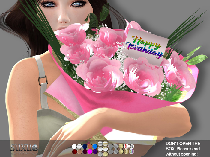 [SuXue Mesh] FATPACK Happy Birthday Adsila Bouquet of Roses Hud 26 Textures 4 Holding Animates 1 Rez Floor Resize
