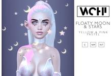 wchi // pastel floaty moon & stars 01 ( yellow/pink)