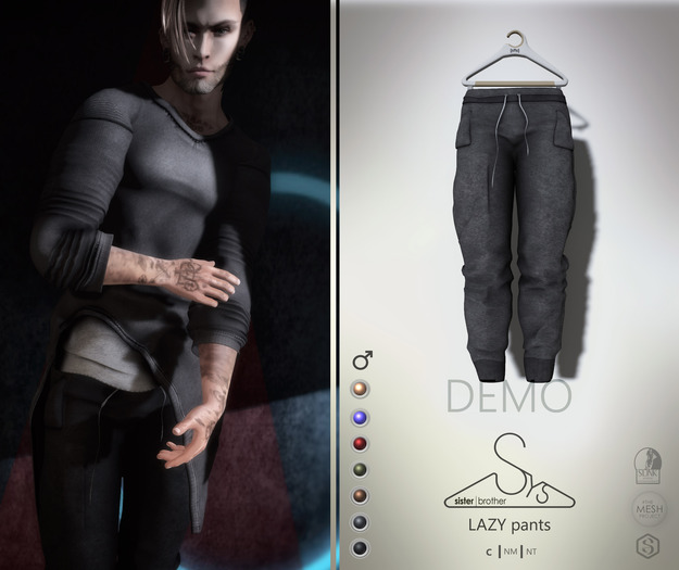 [sYs] LAZY pants (Male body mesh) - DEMO