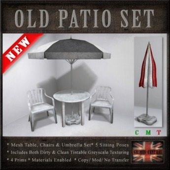 Second Life Marketplace Old Plastic Patio Set Table Chairs