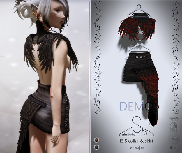 [sYs] ISIS collar & skirt (fitted & body mesh) - DEMO