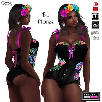 ::DBL:: De Flores Outfit & Hair Flowers (Mesh/Classic Fits) w/ OMEGA PANTIES