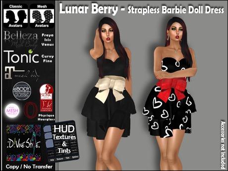 :: D!vine Style :: Lunar Berry - Strapless Barbie Doll Dress