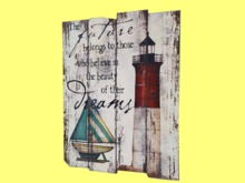 HOME WALL DECOR Hanging Art Painted Old Wood Lighthouse Plaque Sign Indoor/outdoor ShabbyChic copy/mod 1 prim PROMO SALE