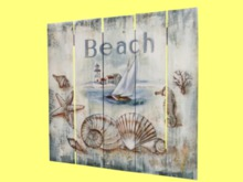 HOME WALL DECOR Hanging Art Wood Painted Fence Board Shells Beach Sign Plaque House indoor/outdoor 1 Prim PROMO SALE