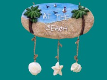 "HOME WALL DECOR Hanging Art Crafted Tropical Plaque ""AT BEACH"" Indoor/outdoor House Sign copy/mod 1 Prim PROMO SALE"