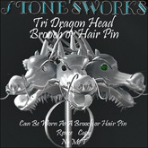 Tri Dragon Head Brooch Pin Stone's Works