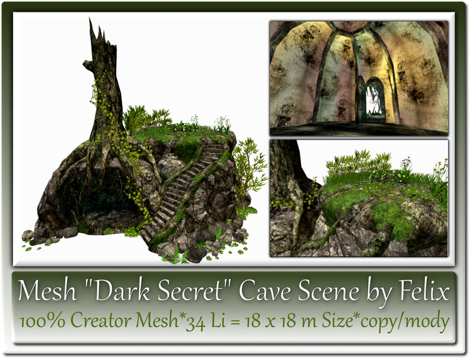 Mesh Dark Secret Cave Scene by Felix 34 Li=18x18m Size co-mo