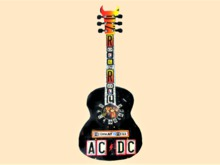 "WALL ART CRAFT DECOR ""AC/DC Highway Hell Back n Black Guitar"" Hanging Plaque Home Sign COPY/MOD 1 Prim PROMO SALE"