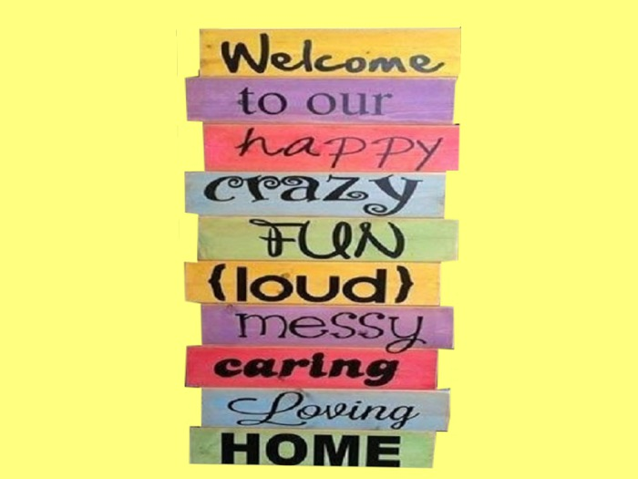 Second Life Marketplace Wall Art Craft Decor Hanging Wood Colorful Hand Painted Welcome Happy Crazy Home Plaque Copy Mod 1 Prim Promo Sale