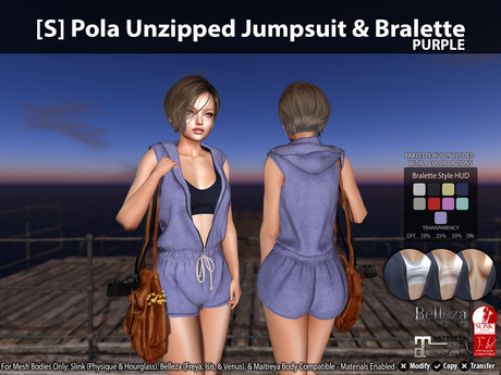 [S] Pola Unzipped Jumpsuit & Bralette Purple