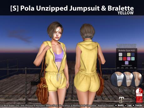 [S] Pola Unzipped Jumpsuit & Bralette Yellow