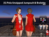s  pola unzipped jumpsuit   bralette red pic