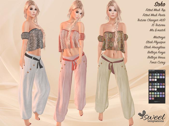 Sweet Temptations :: Soho Outfit - Maitreya, Slink, Belleza, Tonic- 15 Texture HUD. Mix & Match