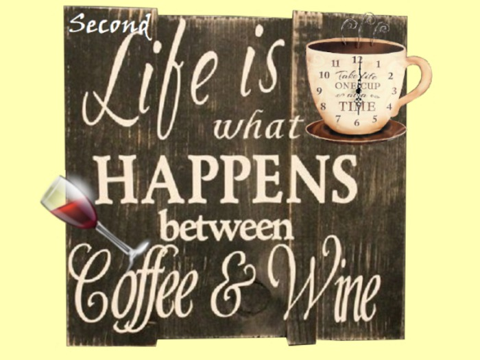 "HOME KITCHEN WALL DECOR Art ""SL Happens between Coffee & Wine"""