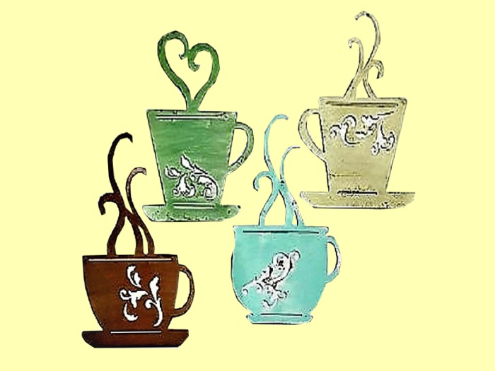 Second Life Marketplace Home Kitchen Wall Decor Art Set 4 Coffee Cups Shabby Chic Alpha Painted Wood Hanging Plaque Sign Copy Mod 1 Prim Promo