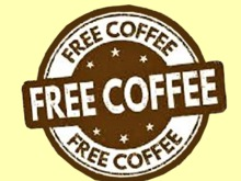 "HOME KITCHEN WALL DECOR Art ""FREE COFFEE"" Alpha hanging Sign Plaque painted wood Picture copy/mod 1 Prim PROMO SALE"