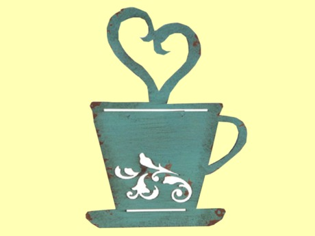 """HOME KITCHEN WALL DECOR Art """"Coffee Cup Shabby Chic"""" Hanging Painted ALPHA Wood Craft Plaque copy/mod 1 Prim PROMO SALE"""