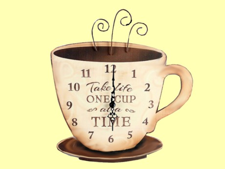 """HOME KITCHEN WALL DECOR Art Coffee Cup Clock """"Take Life One Cup at Time"""" Hanging Painted ALPHA DECAL copy/mod 1 Prim"""