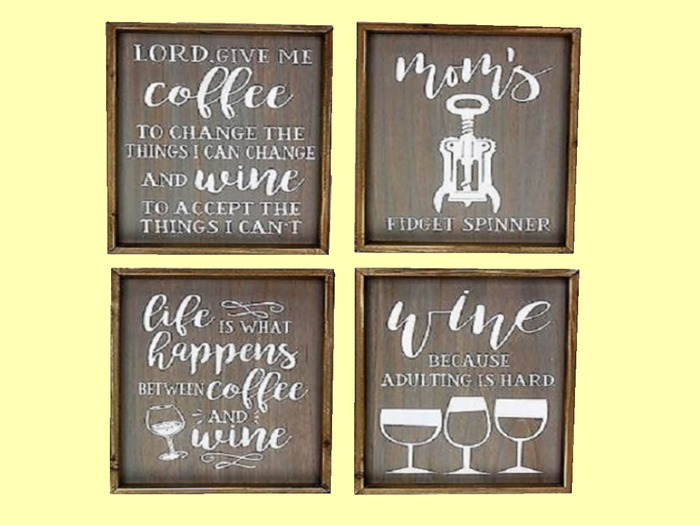 """HOME KITCHEN WALL DECOR Art """"4 Painted signs about COFFEE & WINE"""" set Hanging Plaque ALPHA Wood Craft copy/mod 1 Prim"""