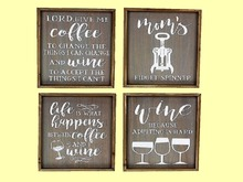 "HOME KITCHEN WALL DECOR Art ""4 Painted signs about COFFEE & WINE"" set Hanging Plaque ALPHA Wood Craft copy/mod 1 Prim"