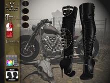 V-Twins Biker Boots - Raven Black&Brown Maitreya, SLInk;Belleza (HUD System)