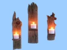"HOME WALL DECOR Hanging Art ""3 Driftwood Candle Scone Shelf"""