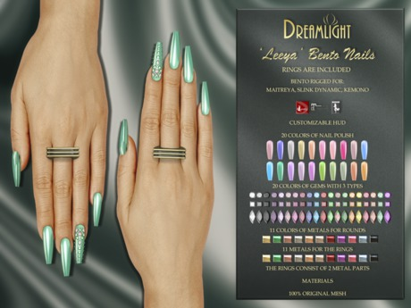 "[Dreamlight] ""Leeya"" Bento Nails with rings"