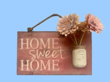 "HOME WALL DECOR Hanging Art ""Home Sweet HOME Painted Wood Flower in Jar"" Interior House ALPHA Craft copy/mod 1 Prim SALE"