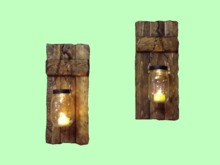 "HOME WALL DECOR Hanging Art ""Old Wood Mason Jar Pair Candle Scones"" ALPHA Wood Craft House copy/mod 1 Prim PROMO SALE"