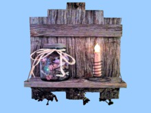 "HOME WALL DECOR Hanging Art ""OLD WEATHERED WOOD SHELF Candy Jar & Candle"" 3D Look Alpha House copy/mod 1 prim PROMO SALE"