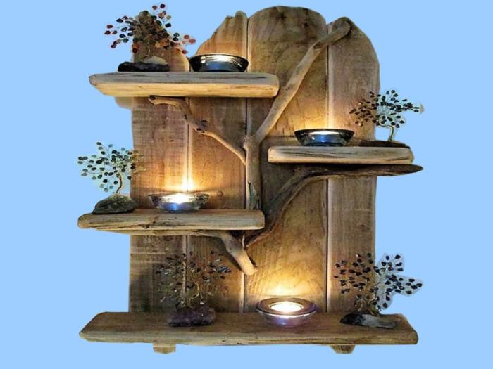 "HOME DECOR Hanging Wall Art ""Reclaimed Wood designer Shelf Candles Metal plants Vines""3D look Flat Alpha copy/mod 1 prim"
