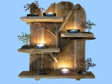 "HOME WALL DECOR Hanging Art ""Reclaimed Wood Shelf branch Candle"