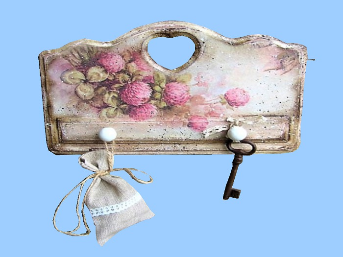 "HOME WALL DECOR Hanging Art ""Shabby Chic Flowers Key Hook Rack"" 3D look Alpha House Furnishings copy/mod 1 Prim PROMO"