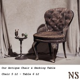 NS Our Antique Chair & Vintage Smoking Table