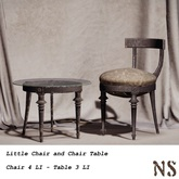 NS Little Chair w. NS poses & Chair Table w Glass Top