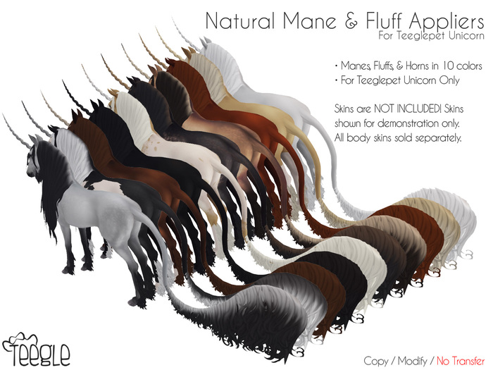[Teegle] Natural Colored Mane & Fluffs for Teeglepet Unicorn