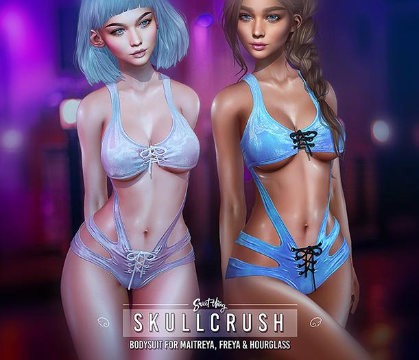 Skullcrush Bodysuit - Fatpack by Sweet Thing. Crushed velvet suit for Maitreya, Belleza Freya Perky & Slink Hourglass